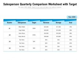 Salesperson Quarterly Comparison Worksheet With Target