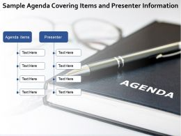 Sample Agenda Covering Items And Presenter Information