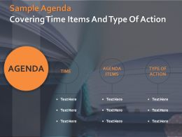 Sample Agenda Covering Time Items And Type Of Action