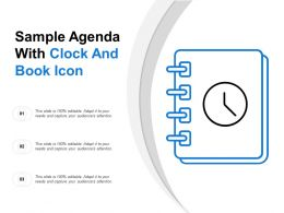 Sample Agenda With Clock And Book Icon