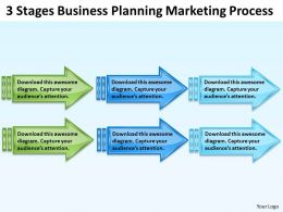Sample Business Model Diagram 3 Stages Planning Marketing Process Powerpoint Slides