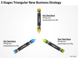Sample Business Model Diagram 3 Stages Triangular New Strategy Powerpoint Templates