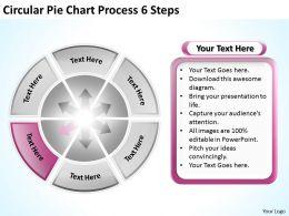 Sample Business Model Diagram Circular Pie Chart Process 6 Steps Powerpoint Templates
