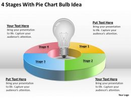 Sample Business Organizational Chart 4 Stages With Pie Bulb Idea Powerpoint Slides