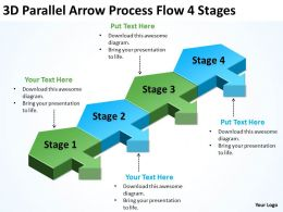 Sample Business Powerpoint Presentations Parallel Arrow Process Flow 4 Stages Templates