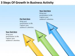 Sample Business Process Diagram 3 Steps Of Growth Activity Powerpoint Templates