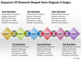 Sample Business Process Diagram Of Diamond Shaped Venn 6 Stages Powerpoint Templates