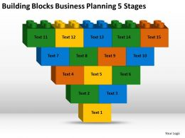 Sample Business Process Flow Diagram Blocks Planning 5 Stages Powerpoint Templates