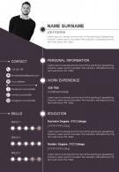 Sample Curriculum Vitae With Personal Information