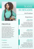 Sample CV Template With Job Position And Profile