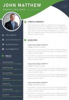 Sample CV Template With Profile Summary And Contact Details