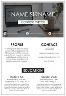 Sample Of Resume For Content Writer