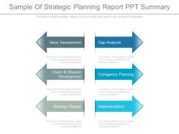 Sample Of Strategic Planning Report Ppt Summary
