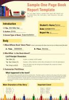 Sample One Page Book Report Template Presentation Report Infographic PPT PDF Document