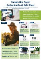 Sample One Pager Customizable Ad Sale Sheet Presentation Report Infographic PPT PDF Document