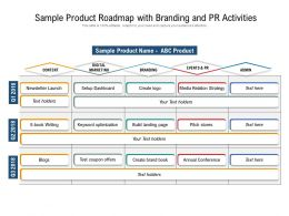 Sample Product Roadmap With Branding And PR Activities