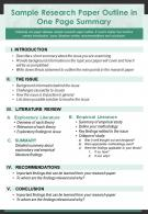 Sample Research Paper Outline In One Page Summary Presentation Report Infographic PPT PDF Document