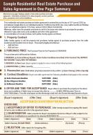 Sample Residential Real Estate Purchase And Sales Agreement In One Page Summary Report Infographic PPT PDF Document