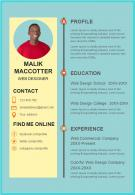 Sample Resume Format For Web Designer
