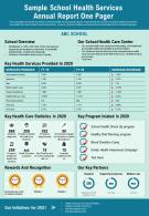 Sample School Health Services Annual Report One Pager Presentation Report Infographic PPT PDF Document