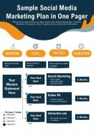 Sample Social Media Marketing Plan In One Pager Presentation Report Infographic PPT PDF Document