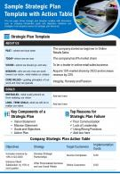 Sample Strategic Plan Template With Action Table Presentation Report Infographic PPT PDF Document