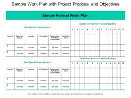 Sample Work Plan With Project Proposal And Objectives