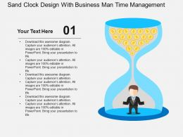 Sand Clock Design With Business Man Time Management Flat Powerpoint Design