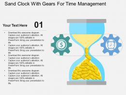 Sand Clock With Gears For Time Management Flat Powerpoint Design