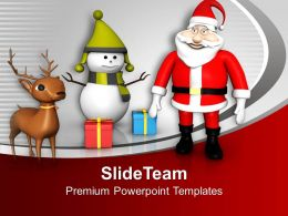 Santa Claus With Gifts Christmas Theme PowerPoint Templates PPT Themes And Graphics
