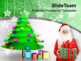 Santa With Christmas Gifts Party Time Powerpoint Templates Ppt Themes And Graphics 0113