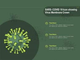 SARS COVID 19 Icon Showing Virus Membrane Crown Ppt Powerpoint Presentation Styles Aids