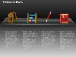 Satchel Abacus Pencil English Book Ppt Icons Graphics