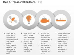 Satellite Hot Air Balloon Submarine Cargo Ship Ppt Icons Graphics