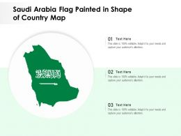 Saudi Arabia Flag Painted In Shape Of Country Map