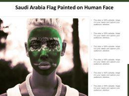Saudi Arabia Flag Painted On Human Face