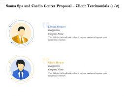 Sauna Spa And Cardio Center Proposal Client Testimonials R383 Ppt Template
