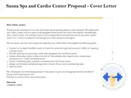 Sauna Spa And Cardio Center Proposal Cover Letter Ppt Demonstration