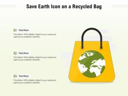 Save Earth Icon On A Recycled Bag