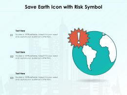 Save Earth Icon With Risk Symbol