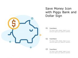 Save Money Icon With Piggy Bank And Dollar Sign