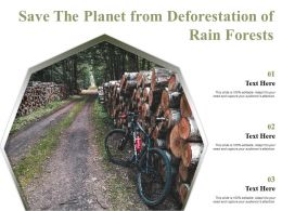 Save The Planet From Deforestation Of Rain Forests