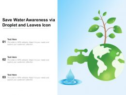 Save Water Awareness Via Droplet And Leaves Icon