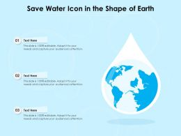 Save Water Icon In The Shape Of Earth
