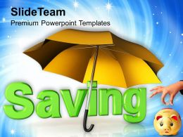 Saving Under Umbrella Piggy Bank Powerpoint Templates Ppt Themes And Graphics 0113