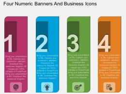 sb Four Numeric Banners And Business Icons Flat Powerpoint Design