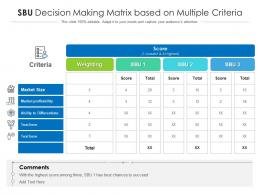 SBU Decision Making Matrix Based On Multiple Criteria