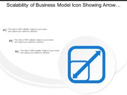 Scalability Of Business Model Icon Showing Arrow With Boxes