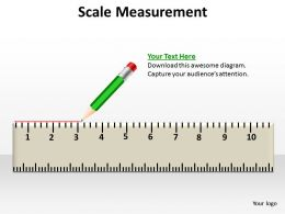 scale measurement shown by pencil crayon with rubber at end making a line powerpoint templates