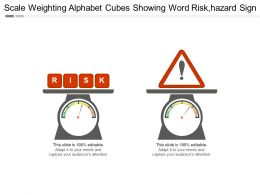 Scale Weighting Alphabet Cubes Showing Word Riskhazard Sign